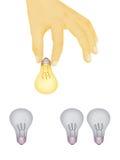 Иллюстрация руки выбирая яркую электрическую лампочку Стоковые Изображения