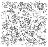 Иллюстрация руки контура вычерченная с милыми кроликами летая в космос r иллюстрация вектора