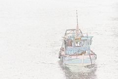 Иллюстрация: рыбацкая лодка Стоковая Фотография RF