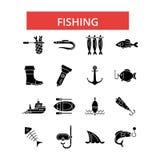 Иллюстрация рыбной ловли, тонкая линия значки, линейные плоские знаки, символы вектора иллюстрация вектора
