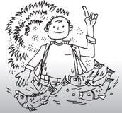 Иллюстрация рыболова Стоковые Фотографии RF