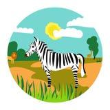 Иллюстрация сафари с львом зебры и girafe для книги или stiker бесплатная иллюстрация