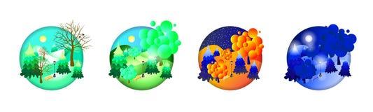 иллюстрация 4 сезонов зима лета весны осени EPS10 бесплатная иллюстрация
