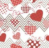 Иллюстрация сердец и зигзагов безшовная Стоковое Фото