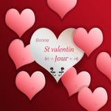 Иллюстрация сердец на красной предпосылке на день ` s валентинки, Стоковая Фотография RF