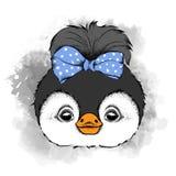 Иллюстрация симпатичной девушки пингвина с смычком на голове также вектор иллюстрации притяжки corel Стоковые Изображения RF