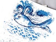 Иллюстрация синего кита милая стоковые фотографии rf