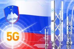 Иллюстрация Словении 5G промышленная, большой клетчатый рангоут сети или башня на современной предпосылке с флагом - иллюстрации  иллюстрация штока