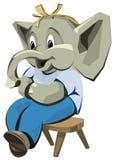 иллюстрация слона характера мальчика Стоковое Изображение