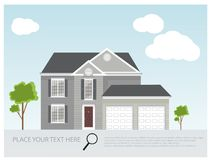Иллюстрация современного дома, проект дома, концепция недвижимости для продаж Стоковое Изображение
