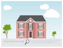 Иллюстрация современного роскошного дома, проект дома, концепция недвижимости для продаж Стоковое Изображение