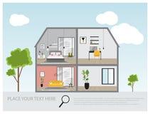 Иллюстрация современного роскошного дома, расквартировывает внутренний дизайн проекта, концепцию недвижимости для продаж Стоковое Изображение