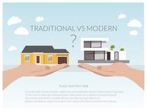 Иллюстрация современных домов, проект дома, концепция недвижимости для продаж Стоковое фото RF