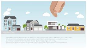 Иллюстрация современных и традиционных домов установила, дизайн проекта дома, концепция недвижимости для продаж Стоковые Фотографии RF