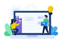 Иллюстрация сотрудничества дизайнера и разработчика иллюстрация вектора