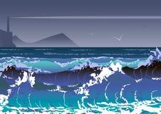 Иллюстрация со штормом и маяком моря Волны моря и бурное небо иллюстрация штока