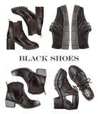 Иллюстрация способа установленные ботинки акварели черные Стоковое фото RF