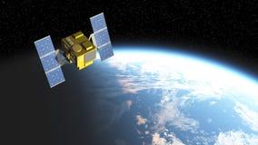 Иллюстрация спутника сверкная в солнечном свете от стороны Стоковое фото RF