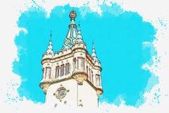 Иллюстрация старого замка стоковые фотографии rf