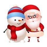иллюстрация Старый Санта Клаус обнимая снеговик иллюстрация вектора