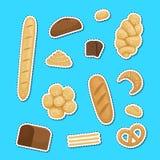 Иллюстрация стикеров элементов пекарни мультфильма вектора установленная иллюстрация вектора