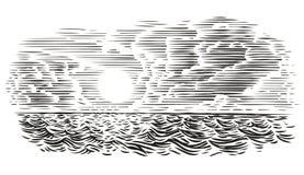 Иллюстрация стиля гравировки вида на море Наслоенный вектор, изолированный, стоковое изображение rf
