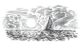 Иллюстрация стиля гравировки вида на море Наслоенный вектор, изолированный, стоковая фотография
