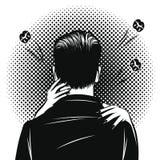 Иллюстрация стиля искусства попа вектора черно-белая шуточная женщины обнимая человека Романтичная дата с объятиями и поцелуями О иллюстрация штока
