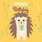Иллюстрация стиля шаржа вектора шаблона поздравительной открытки с днем рождений при еж держа подарок Стоковая Фотография RF