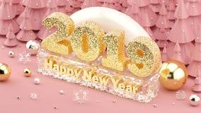2019 иллюстрация счастливого Нового Года равновеликая 3D в тысячелетних розовых цветах и рождественские елки с украшениями иллюстрация штока