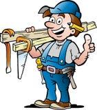 Иллюстрация счастливого разнорабочего плотника Стоковая Фотография