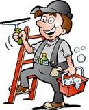 Иллюстрация счастливого уборщика окна Стоковое Изображение