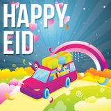 Иллюстрация счастливой исламской семьи в автомобиле празднуя и наслаждаясь торжество mubarak eid иллюстрация штока