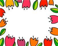 Иллюстрация счастливой руки пасхи красивой вычерченная с тюльпанами иллюстрация вектора