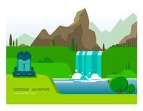 Иллюстрация с естественным ландшафтом гор, реки и водопада с вегетацией и пешим рюкзаком в foregroun иллюстрация штока