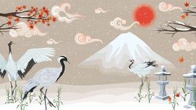 Иллюстрация с кранами на предпосылке гор на заходе солнца иллюстрация штока
