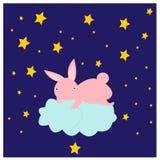 Иллюстрация с милым зайчиком на звездах облака заразительных Стоковые Изображения RF