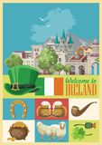 Иллюстрация с ориентир ориентирами, ирландский замок стиля вектора Ирландии плоская, зеленые поля бесплатная иллюстрация