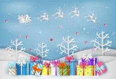 Иллюстрация с Рождеством Христовым и Нового Года с красочным подарком иллюстрация штока