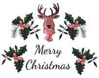 Иллюстрация с Рождеством Христовым рождественской открытки в векторе иллюстрация штока