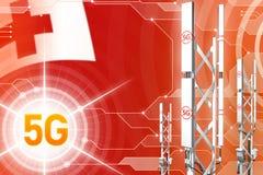 Иллюстрация Тонги 5G промышленная, огромный клетчатый рангоут сети или башня на современной предпосылке с флагом - иллюстрации 3D бесплатная иллюстрация