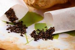 иллюстрация трав над разбросанным чаем стоковое фото