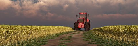 иллюстрация трактора обеспечивая циркуляцию стоковое фото