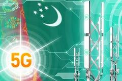 Иллюстрация Туркменистан 5G промышленная, большой клетчатый рангоут сети или башня на цифровой предпосылке с флагом - иллюстрации бесплатная иллюстрация