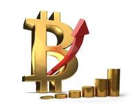 Иллюстрация увеличения 3D Bitcoin высокая Стоковые Изображения RF