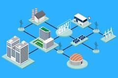 Иллюстрация умной технологии города схематическая равновеликая стоковое изображение