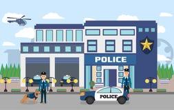 Иллюстрация Управления полиции с офицерами стоковые фотографии rf