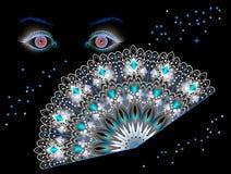 Иллюстрация фантазии для плаката для салонов или ночного клуба удачи предсказывая Фантастические глаза и вентилятор вечером на че иллюстрация штока