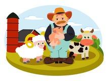 Иллюстрация фермы в векторе с фермером Стоковая Фотография