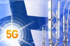 Иллюстрация Финляндии 5G промышленная, большой клетчатый рангоут сети или башня на современной предпосылке с флагом - иллюстрации бесплатная иллюстрация